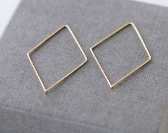Solid Gold Diamond Hoop, Simple Gold Hoop, Modern, Contemporary Earrings