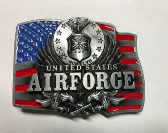 US AIRFORCE Beautiful Red, White, and Blue Belt Buckle with American Flag