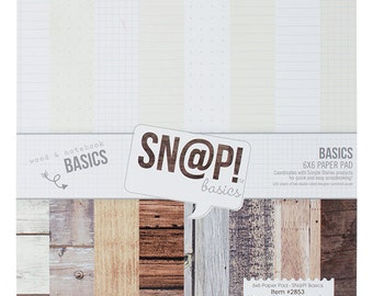 Simple Stories - Double Sided Paper Pad - 6x6 24 Pack Sn@p! Color Vibe Basics Wood & Notebook