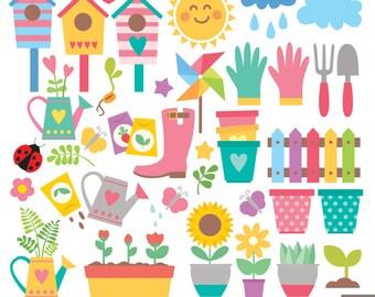 Spring Garden Clipart, Pot Plants Clipart, Ladybug, Sunflower, Fence, Boot, Bird House, Flower Clipart