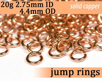 20g 2.75 mm ID 4.4 mm OD copper jump rings -- 20g2.75 open jumprings links