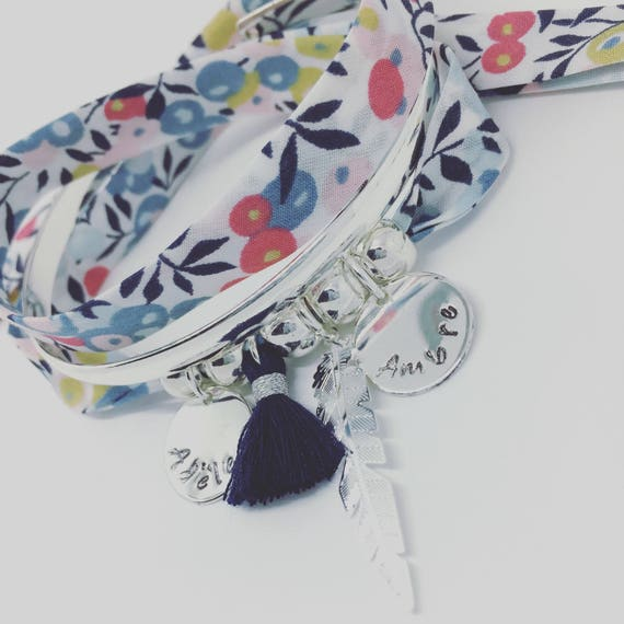 ★ Liberty Addict ★ Liberty exclusive WILTSHIRE porcelain GriGri XL with 2 custom ENGRAVINGS, silver feather Bracelet and tassel by Palilo