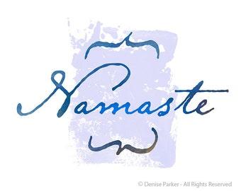 "Yoga Art, ""NAMASTE"" - MOON COLORS- Small, Yoga Wall Art, Yoga Artwork, Yoga Print, Yoga Studio Artwork, Giclée Print, Contemporary Yoga Art"