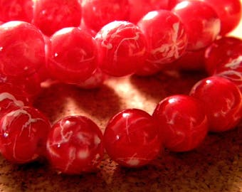 10 pearls 8 mm glass speckled red PE201 3