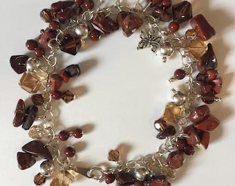 Red Jasper and Swarovski Crystal Charm Bracelet