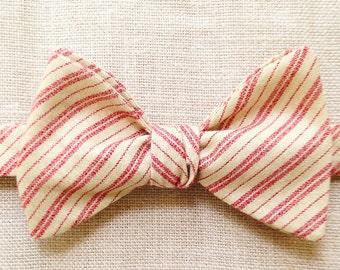 Salmon Stripes  (self tie bow tie)