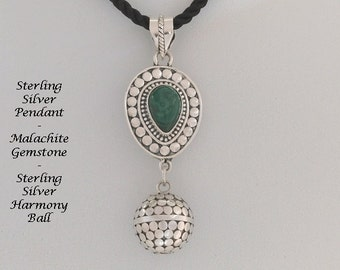 Unique Harmony Ball Necklace with Malachite Gemstone on a 925 Silver Pendant with a 925 Silver Discs Harmony Ball | Pregnancy Gift 778