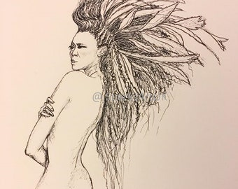 Big hair print (ink line drawing)