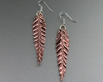 Fold Formed Copper Leaf Earrings - Rose Gold-Tone Leaf Earrings - Makes a Great 7th Wedding Anniversary Gift!