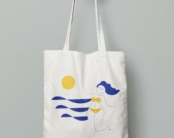 Summer blue sunny swimming beach tote bag, summer canvas bag- beach summer bag