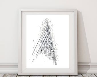 Flat Iron Drawing | Original artwork | Architectural drawing | Pen & Ink by hand | 8x10 Wall Print