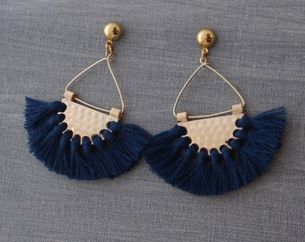 Tassel Earrings - Tassle Earrings - Boho Tassel Earrings - Fringe Earrings - Fan Earrings - Half Circle Earrings, Navy Earrings, crescent