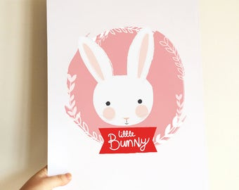 Little Bunny rabbit, nursery kids room decor, digital download wall art print, cute bunny illustration drawing birth print