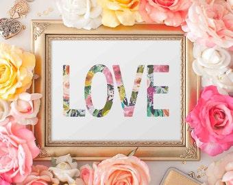 Love Printable Wall Art, love printable art, Baby Girl Nursery decor, Nursery art, home decor love quote, gallery wall pink floral printable