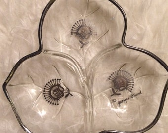 Vintage Georges Briard Silver Rimmed Candy Dish Floral Motiff Mid Century