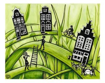 Thuis, waar het gras groen is #3 - Print van Originele illustratie - Afmeting papier A4 - Aquarel illustratie