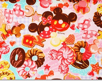 """Disney Mickey, Minnie Mouse Character Fabric made in Japan, Half Meter 50cm by 108cm or 20"""" by 43"""""""