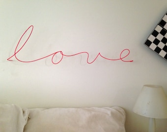 "Wire ""love"" sculpture in pink!"