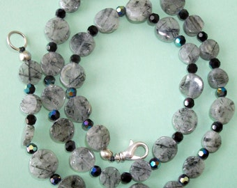 Gemstone Jewelry Necklace - Tourmalinated Quartz and Swarovski Crystal Gemstone Beaded Necklace