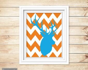 Deer Buck Head Silhouette Orange Chevron Blue Nursery Wall Art Bedroom Boy's Room Decor Printable 11x14 Digital JPG Instant Download (42-1)