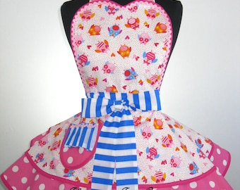 Last One Flirty Pink Polka Dot Owl Apron -only one left in stock