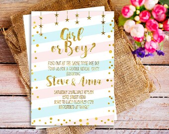 Gender Reveal Invites, Gender Reveal party invitation, gold gender reveal party invitation, boy or girl party invitation, baby reveal invite
