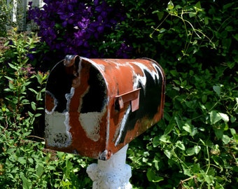 Handpainted,Hand Painted, Aged Mailbox Copper with Black,White and Rust
