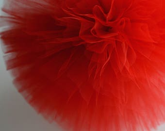 Red tulle pom poms / wedding party decorations / girls birthday party  pompoms / nursery decor / weddings / tulle pompom / kids room