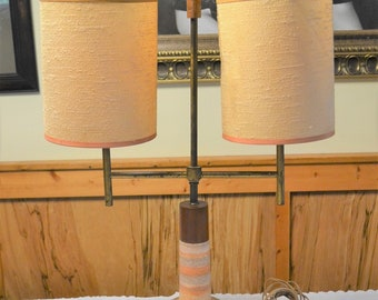 Vintage Table Lamp Terracotta Stripe Ceramic Wood Base Two Arm Matching Shades Mid Century Lighting PanchosPorch