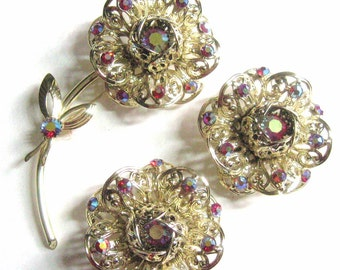 60's Vintage Fashion Flower Set Brooch & Large Earrings Sarah Coventry Signed, Iridescent Red Aurora Borealis + Filigree Metal Florals