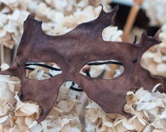 Brown Oak Leaf Split Leather Masquerade Leather Mask