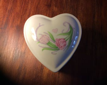 Heart shaped porcelain box with tulips for Mother's Day or Valentines Day