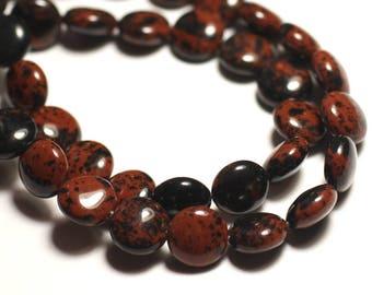 6PC - stone beads - mahogany Brown 10mm - 8741140015050 pucks Mahogany Obsidian