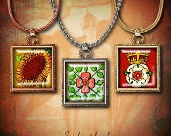 """Medieval Flowers (1) Digital Collage Sheet - 56 different Squares 1x1"""" - Buy 3 Get 1 Extra Free"""