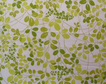 1970s green vines and leaves on Vintage Sheet Fat Quarter