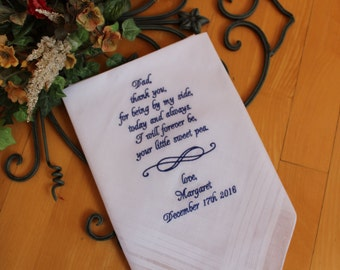 thank you for being by my side today and always, father of the bride handkerchiefs, Dad weding hankies. Dad Wedding Gift. MS2F38