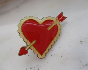 Vintage Gold Tone & Red Enamel Valentine's Day Heart Tac Pin or Lapel Pin