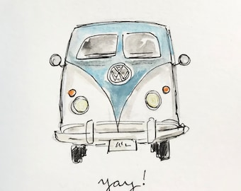 Yay! VW Bus illustration, printed on archival quality paper, Measures 8x10 inches