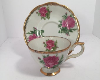 Vintage Pink Rose Teacup and Saucer