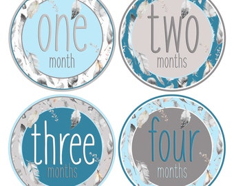 Baby Boy 1st Year Stickers Baby Months Stickers Boy Month by Month Baby stickers Blue and Grey Feathers Baby Growth Keepsakes Tribal