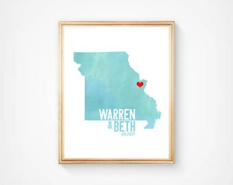 Missouri or ANY STATE Wedding Map Art - Custom Personalized Watercolor Anniversary Print - Hometown Wall Art Water Color Gift Souvenir
