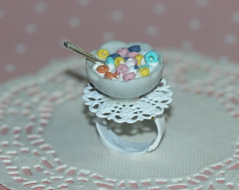 Cereal Ring - Fruit Loops Cereal Ring - Breakfast Jewelry - Miniature Food Jewelry - Food Ring - Cereal Jewelry - Kawaii Ring