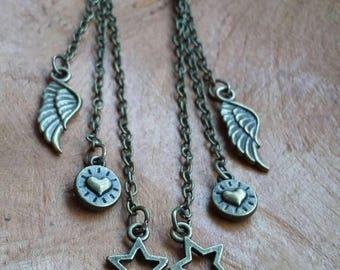 Earrings Bronze Wing Heart Star