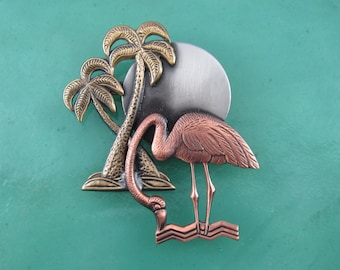 Flamingo by Moonlight Brooch- Flamingo Jewelry- Flamingo Gift- mixed metal jewelry
