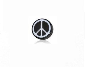 Peace Sign - black/white silver HGC1398 Floating Charm for Glass Memory Lockets