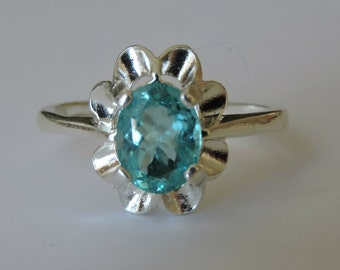 Gorgeous Neon Blue Apatite Sterling Silver Ring size 6.25