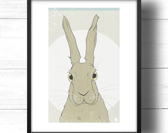 Golden Hare No.2 - A3 Print - Wild Hare with Moon, based on Golden Ratio / Golden Section and Fibonacci Sequence
