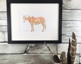 "Horse art original framed watercolor & ink painting - ""Fuzzy Palomino"""