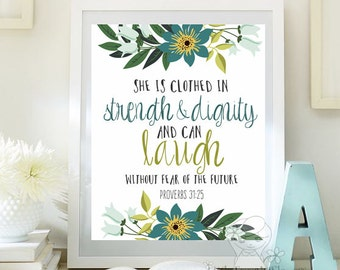 Nursery Bible verse print decor She is clothed in strength and dignity Proverbs 31 25 Scripture nursery Christian wall art decor ID116-117