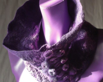 Nuno Felt Snood, Silk with Merino Wool, Neck Ruff,Purple,O.O.A.K